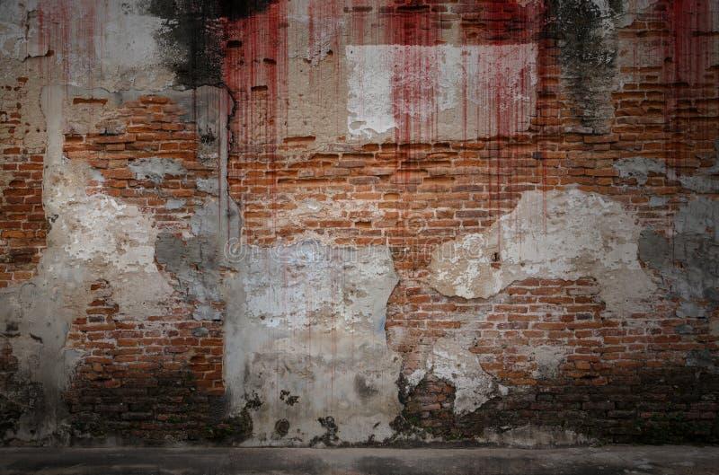 血淋淋的背景可怕老砖墙,恐怖的概念 库存图片