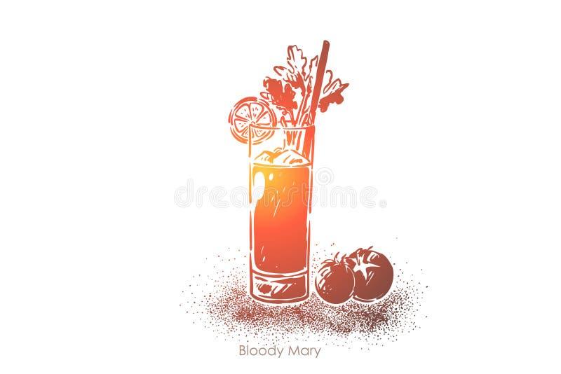 血玛莉酒,伏特加酒用西红柿汁,与秸杆,新鲜的热带饮料食谱书的鲜美饮料 库存例证