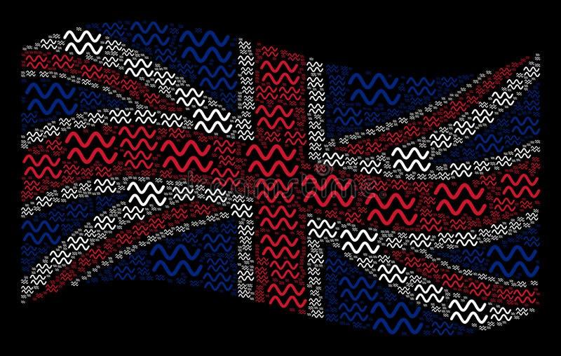 血窦波浪象的挥动的英国旗子样式 库存例证
