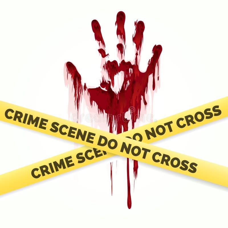 血腥的handprint和警察犯罪现场 库存例证