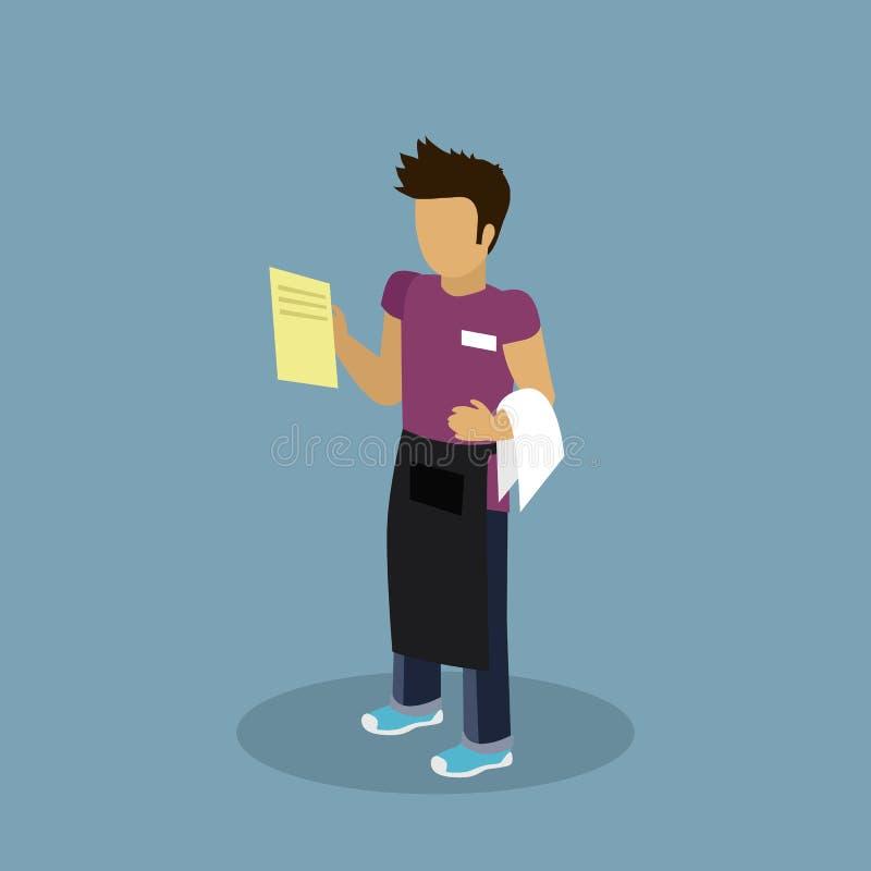 行业侍者设计平的Chatacter 向量例证