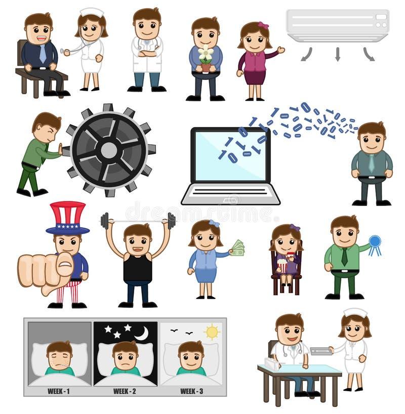 行业和技术的动画片概念 皇族释放例证