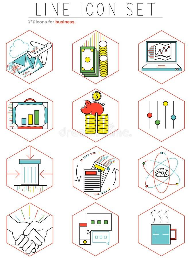 行业在平的设计设置的象 网 库存例证