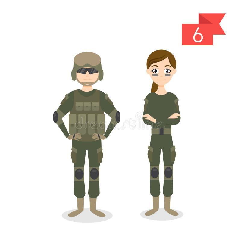 行业字符:男人和妇女 战士 皇族释放例证