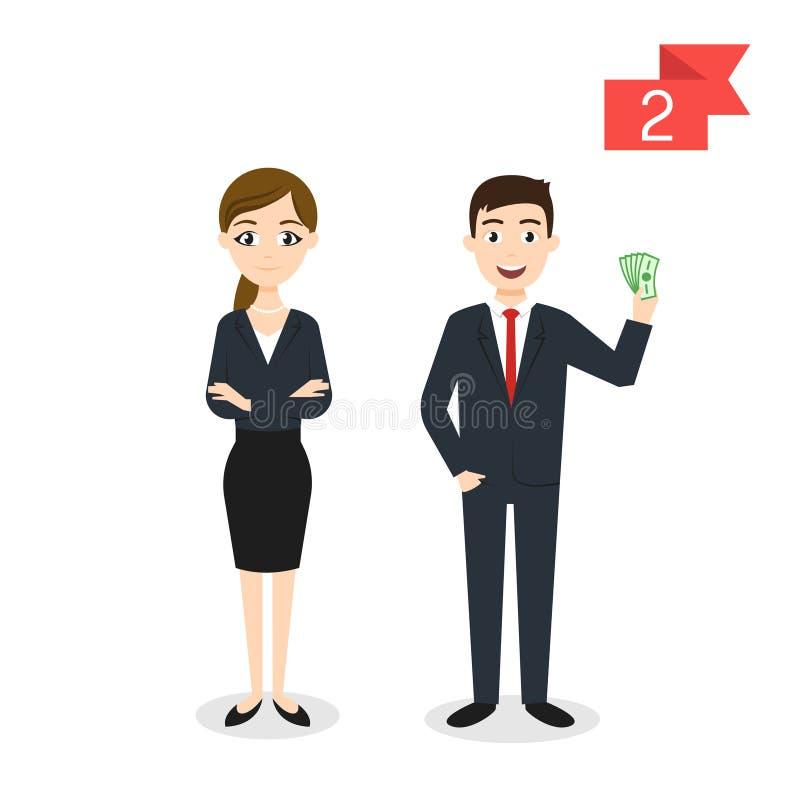 行业字符:男人和妇女 生意人和女实业家 向量例证