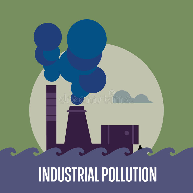 行业污染 有烟囱的工厂 向量例证