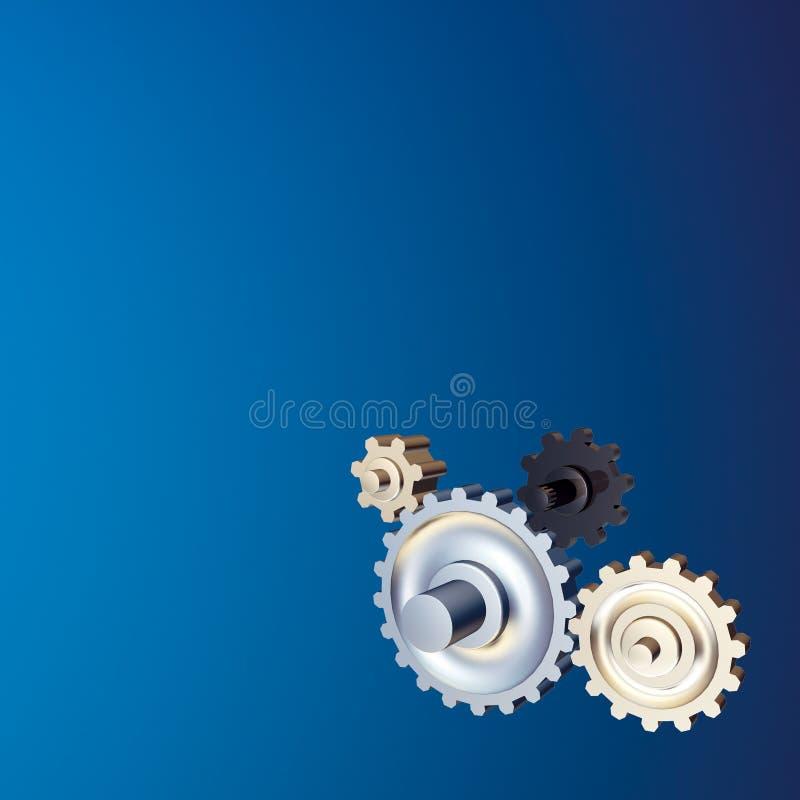 行业背景蓝色齿轮 免版税库存照片