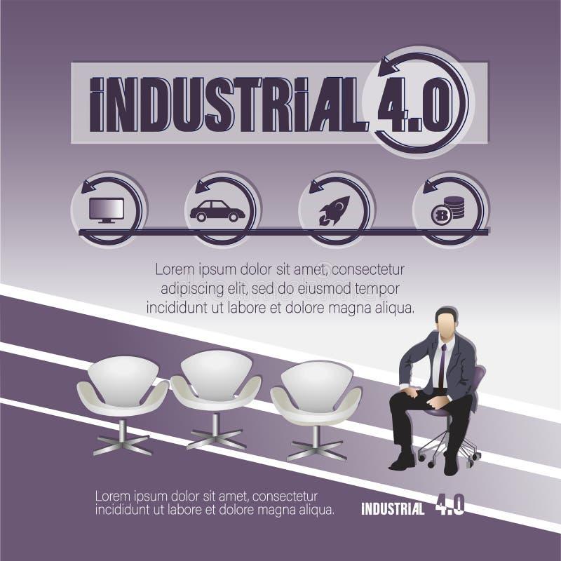 4行业 与主题词和商人的海报 向量例证
