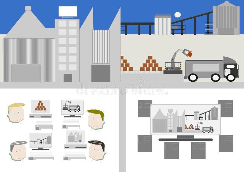 4行业 聪明的工厂 库存例证