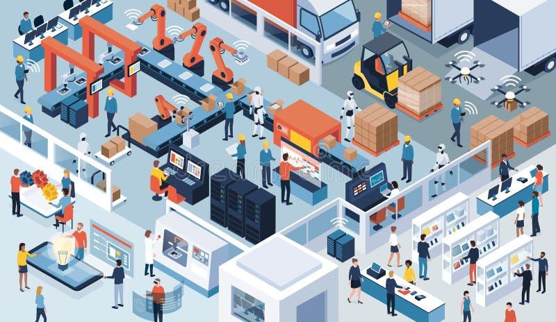 4行业 0,自动化和创新 库存例证