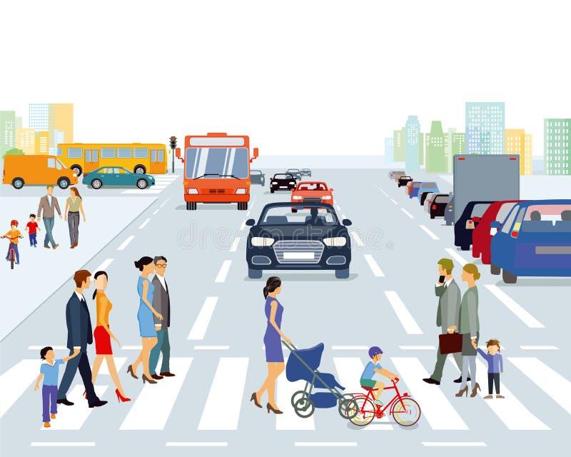 行人交叉路在大城市 皇族释放例证