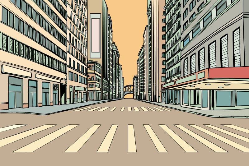 行人交叉路在大城市 向量例证