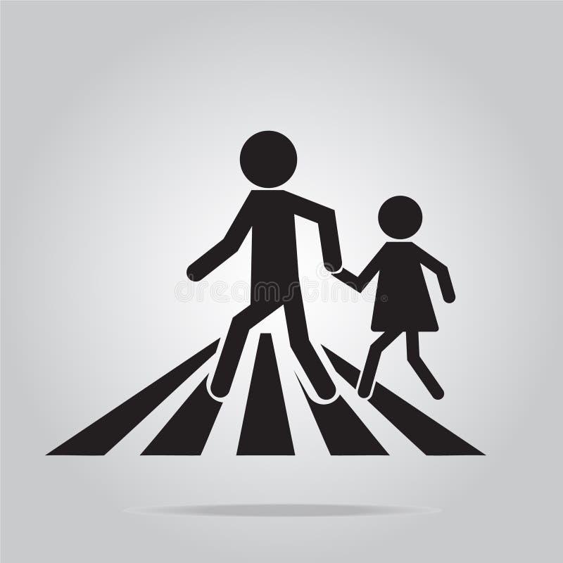 行人交叉路标志,学校路标 皇族释放例证