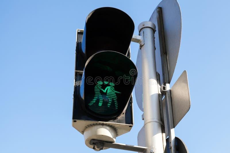 行人交通光在维也纳,奥地利 免版税库存照片