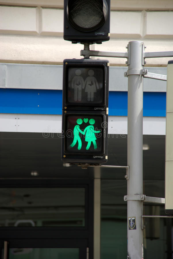 行人交通光在维也纳 免版税库存图片