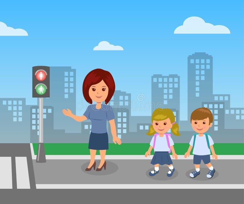行人交通光 老师显示并且解释公路安全规则儿童学生的 皇族释放例证