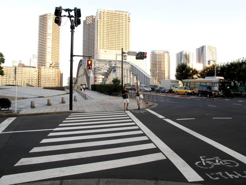 行人穿越道和自行车车道 库存图片