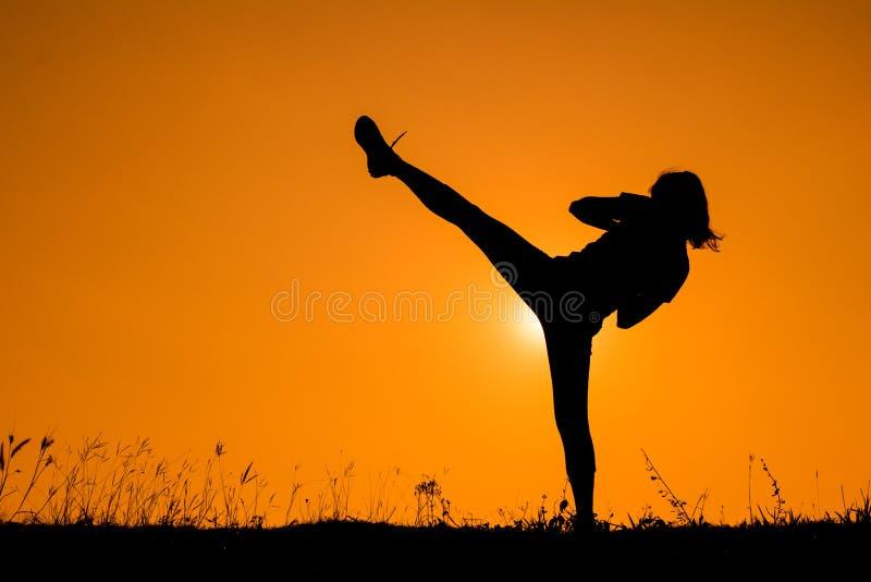 行使反撞力的脚踢拳击女孩剪影  免版税库存图片