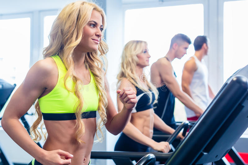 行使在健身健身房的踏车小组 图库摄影