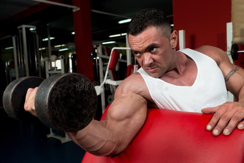 行使在健身房的肌肉人 免版税库存照片