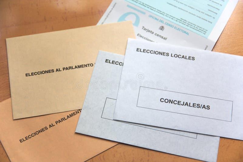 行使在地方和地方竞选的表决的信封 库存图片