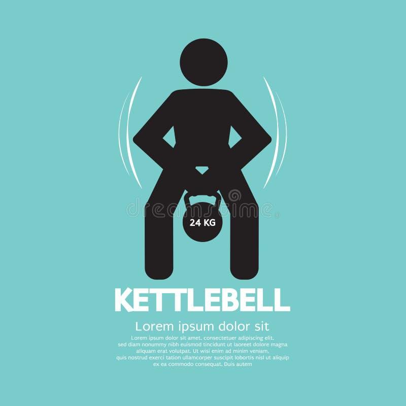 行使标志的Kettlebell健身 皇族释放例证