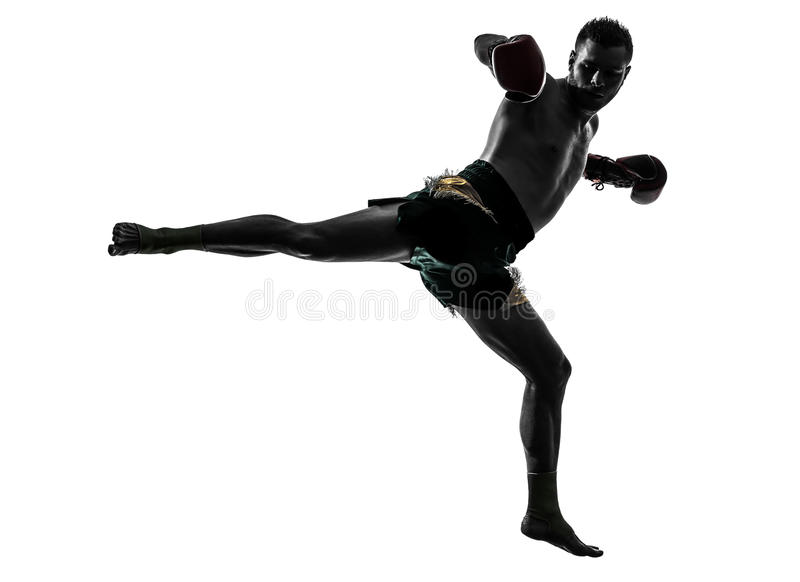 行使泰国拳击剪影的一个人 库存照片