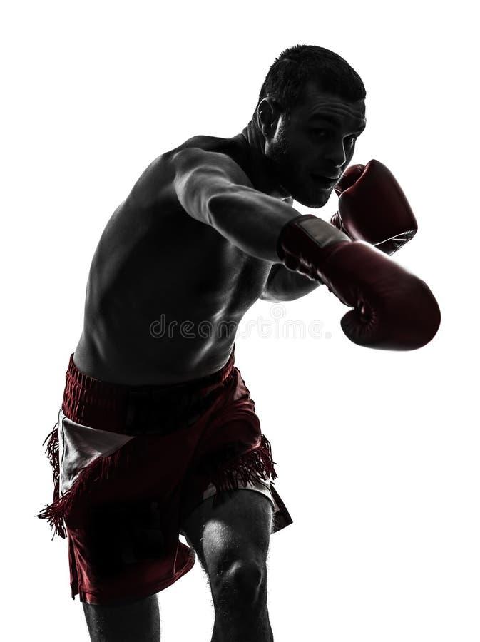 行使泰国拳击剪影的一个人 免版税库存图片