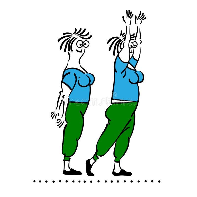 老妇性交姿势_行使老妇人 被设置的普拉提姿势. 例证, 损失.