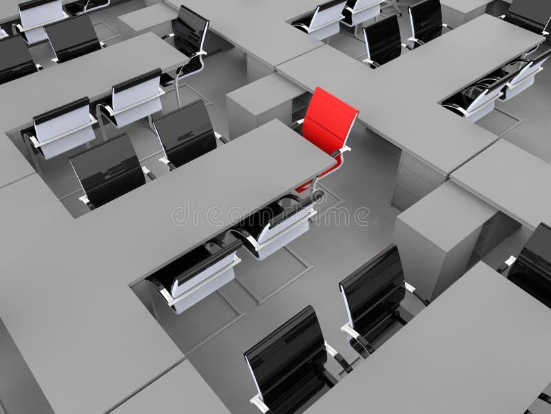 行办公室桌位子聚焦 向量例证