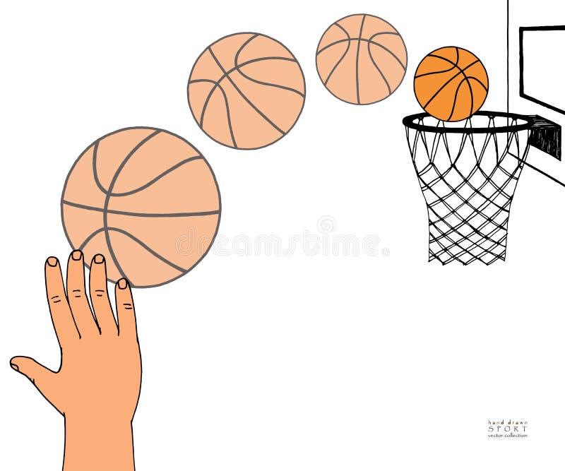 行动传染媒介进入箍的篮子球的道路例证 手,蓝球板,箍,圆环,网,成套工具 拉长的现有量 库存例证