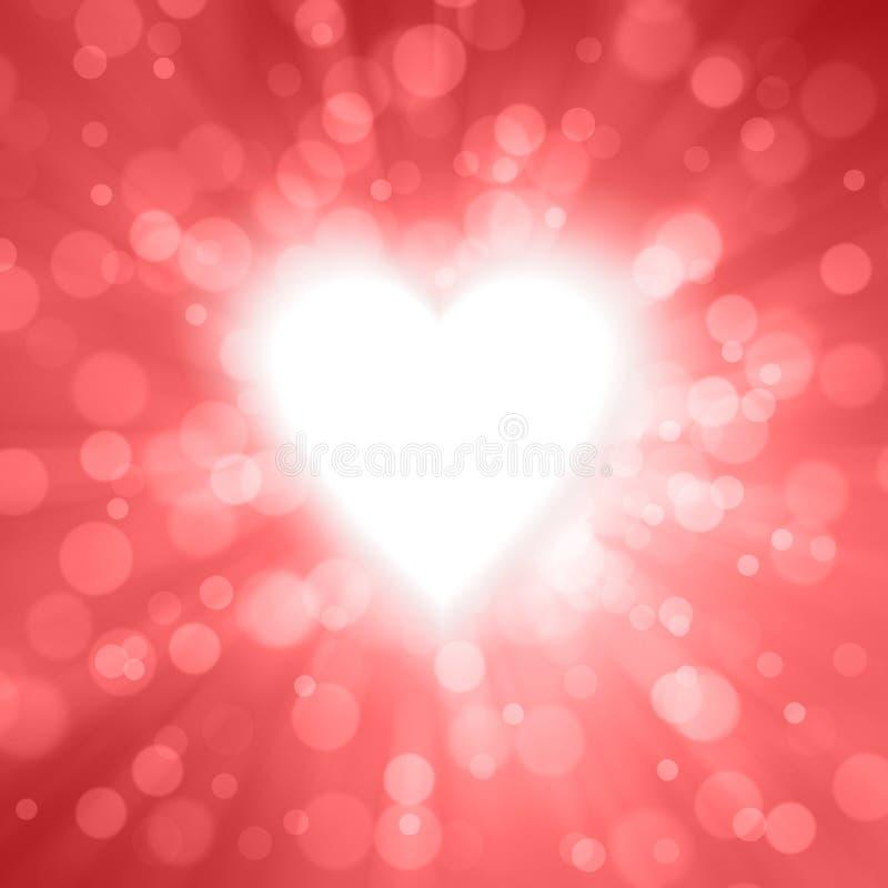 行动和辐形弄脏了发光的红色华伦泰背景 向量例证