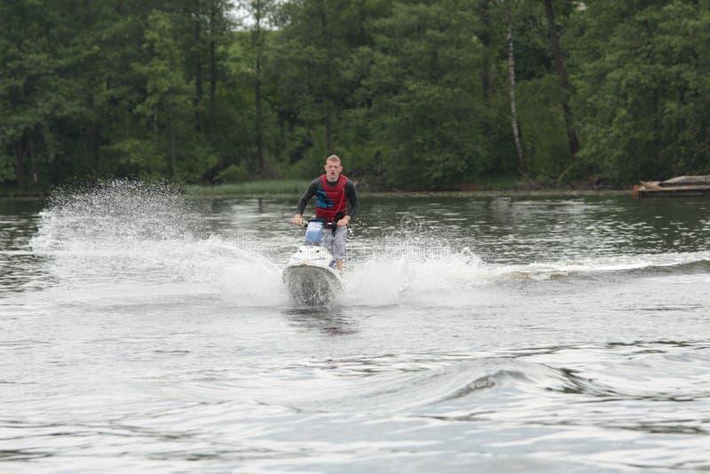 行动喷气机滑雪的照片人 免版税库存照片