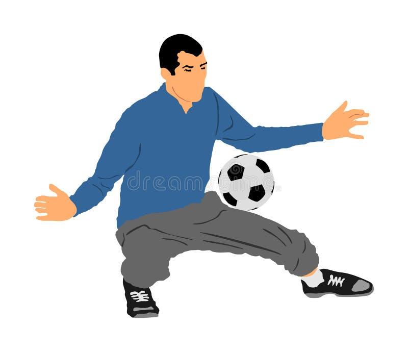 行动在白色背景隔绝的传染媒介例证的足球运动员 足球选手 守门员防御位置 防御者 向量例证