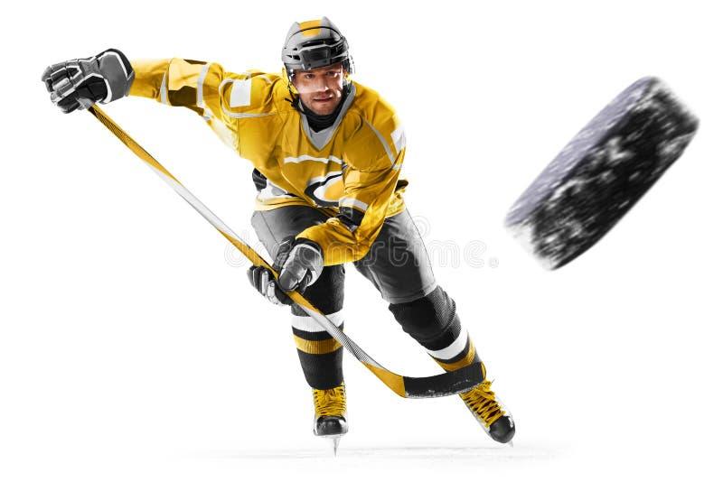 行动的专业冰球球员对白色backgound 免版税图库摄影