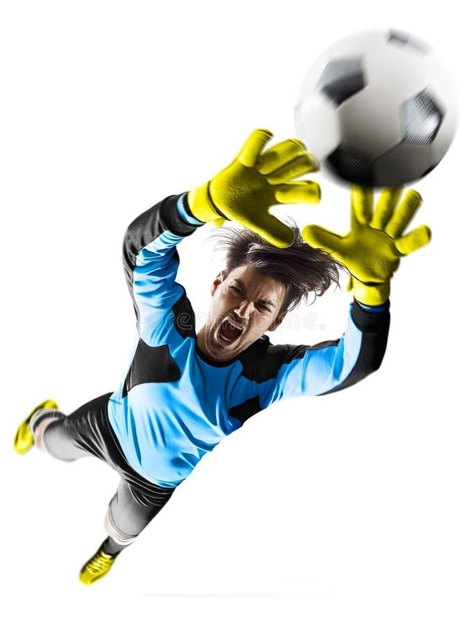 行动的专业足球守门员对白色背景 免版税库存图片