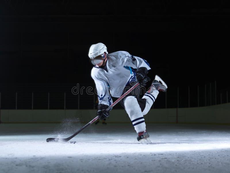 行动的冰球球员 免版税库存照片