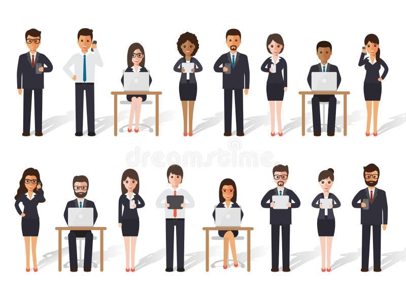 行动的商人和女实业家人 向量例证