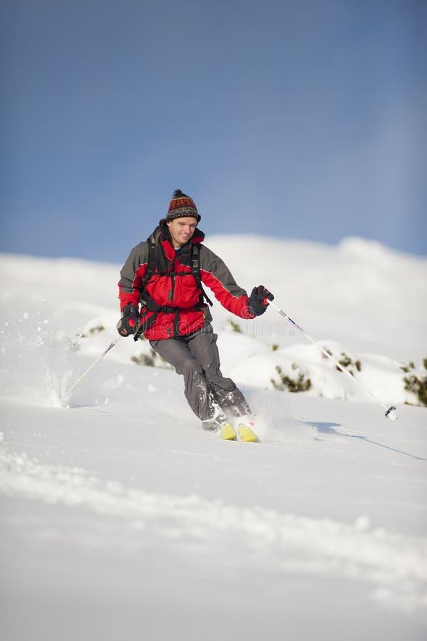 行动的愉快的滑雪者 库存图片