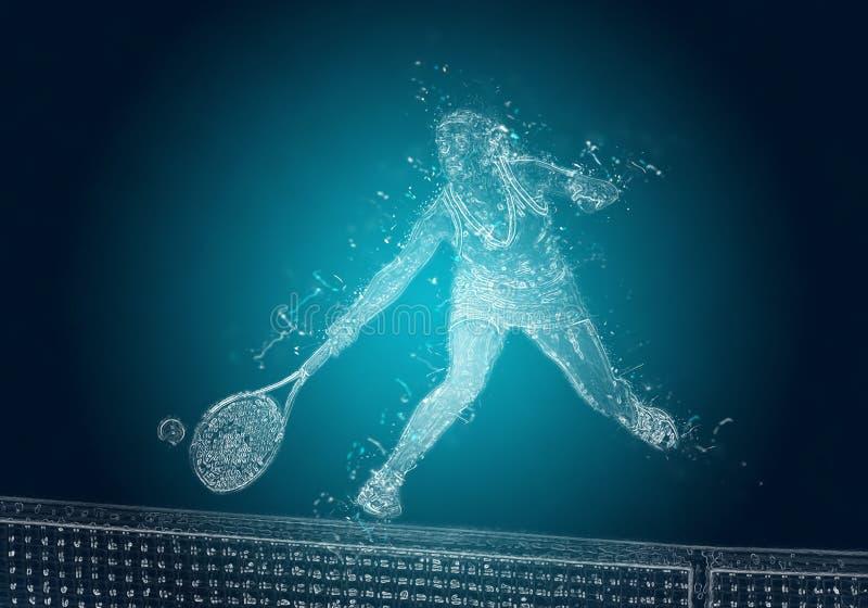 行动的抽象网球员 免版税图库摄影