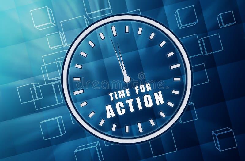 行动的时刻在蓝色玻璃立方体的时钟标志 皇族释放例证