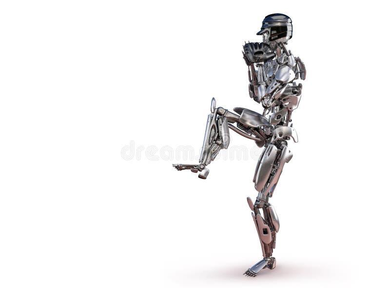 行动的机器人棒球选手,被隔绝 靠机械装置维持生命的人机器人人工智能技术概念 3d例证 皇族释放例证