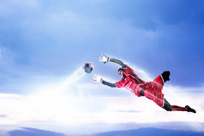 行动的足球守门员 r 免版税库存图片
