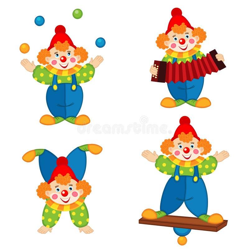 行动的马戏团小丑 向量例证
