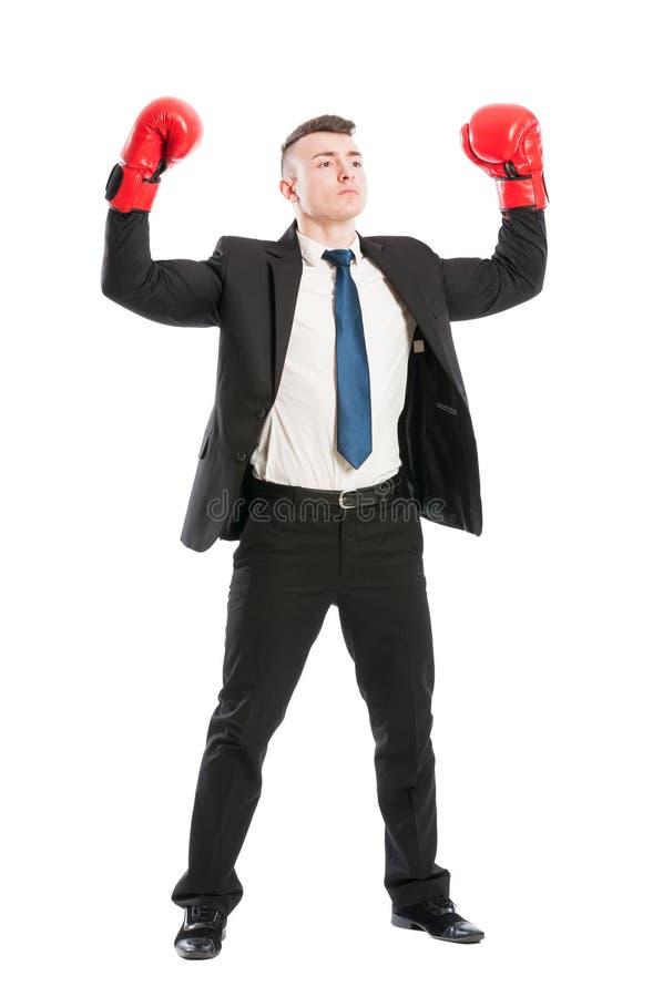 行动象冠军的确信的商人 免版税图库摄影