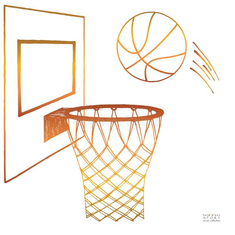 行动进入箍的篮球的传染媒介例证 蓝球板,箍,圆环,网,成套工具 手拉的草图 梯度 向量例证