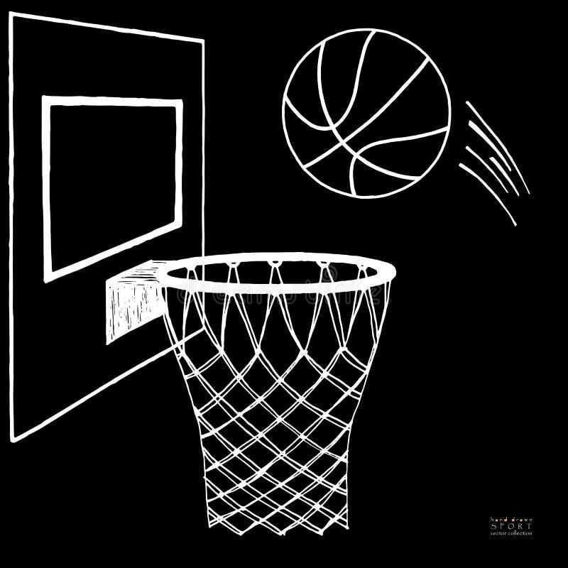 行动进入箍的篮球的传染媒介例证 蓝球板,箍,圆环,网,成套工具 手拉的草图 白色 库存例证