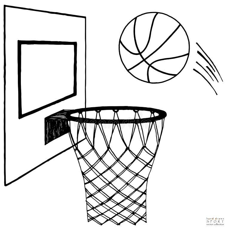 行动进入箍的篮球的传染媒介例证 蓝球板,箍,圆环,网,成套工具 手拉的草图 黑色 皇族释放例证