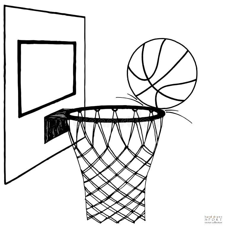 行动错过点的篮子球的传染媒介例证 蓝球板,箍,圆环,网,成套工具 手拉的草图 投反对票 向量例证