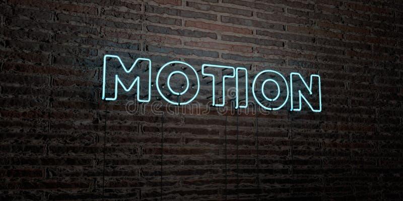 行动-在砖墙背景的现实霓虹灯广告- 3D回报了皇族自由储蓄图象 库存例证